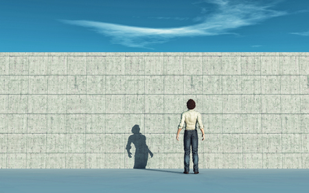 Man looking up to the big wall. This is a 3d render illustration.