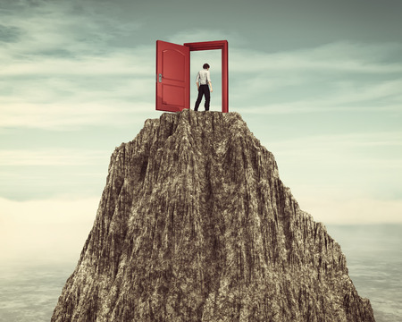 Man walking through an opened door on top of a mountain. This is a 3d render illustration.
