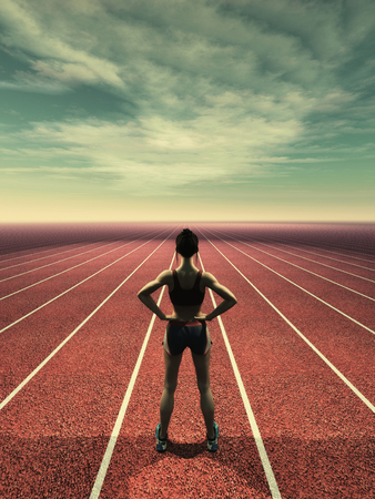 Athlete woman on a infinite runnin track. This is a 3d illustration.