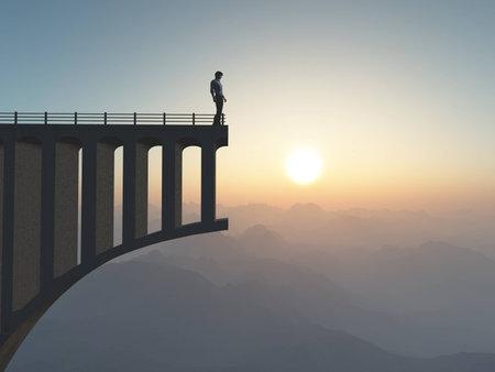 Homme debout sur un pont cassé. Homme debout au bout de la route sur un pont. Il s'agit d'une illustration en 3D. Banque d'images