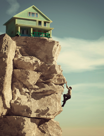 Man climbing on a mountain to a house. House at the edge of the mountain cliff. This is a 3d illustration.