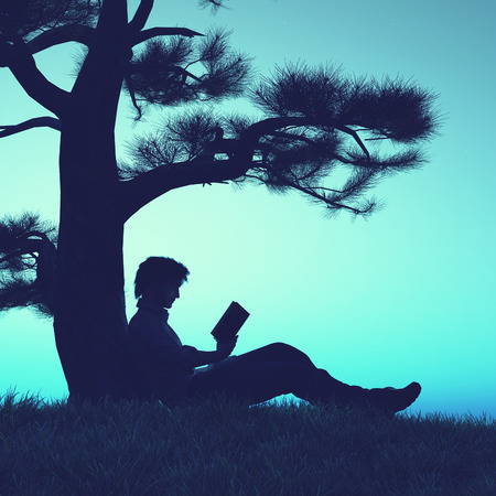 Sillouthe of a man reading a book on field under a tree. This is a 3d illustration .