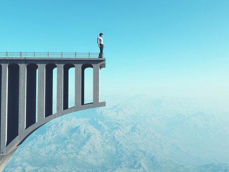 Mann steht auf einer kaputten Brücke. Mann steht am Ende der Straße auf einer Brücke. Dies ist eine 3D-Darstellung.