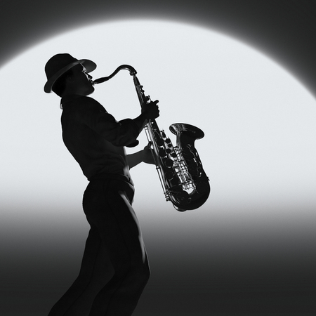 Black and white image of a man playing saxophone. This is a 3d render illustration.