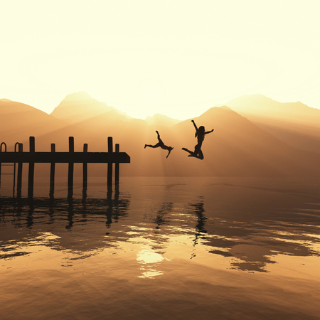 Two people jump off a pontoon in the water. This is a 3d render illustration.