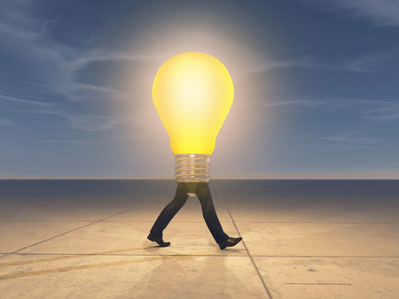 Man walking with a lit lightbulb instead of upper body. This is  a 3d illustration.