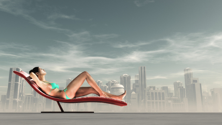 Woman in swim suit lying on the sunbed, city in the background.