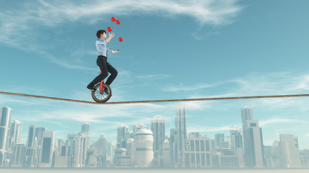 Man ride a mono cycle and balancing a slackline while juggling, with a city in the background.