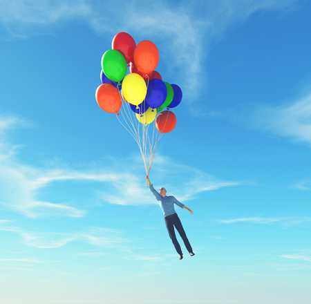 Hombre sujetando globos elevándose hacia el cielo.