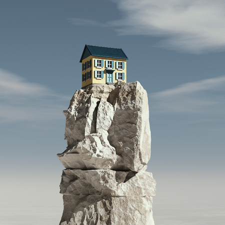 House on the top of a mountain rock. Stockfoto