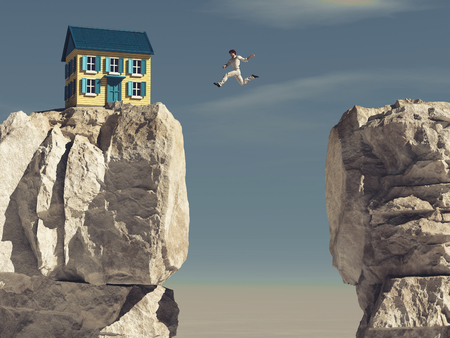 Man jumping over a gap between two rocks to a house.