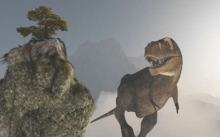 Tyrannosaurus Rex in the jungle surrounded by mountains. This is a 3d render illustration