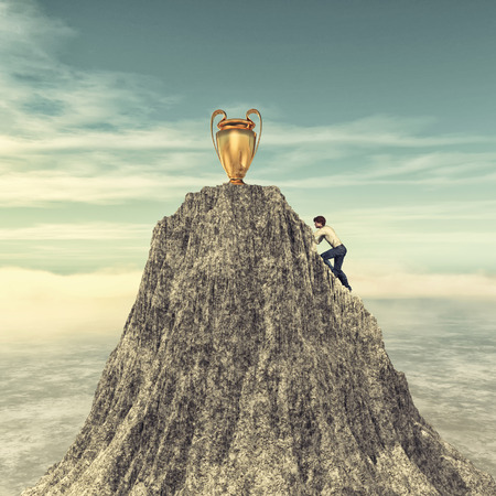 Man climbing on a mountain cliff to the cup target. This is a 3d render illustration Stockfoto