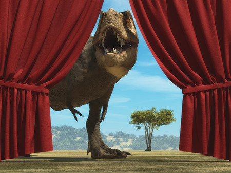 Tyrannosaurus Rex enters on stage through opened curtain Stockfoto