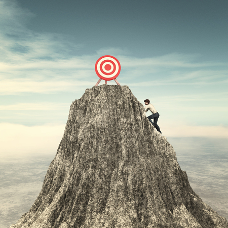 Man climbing on a mountain cliff to the red target.