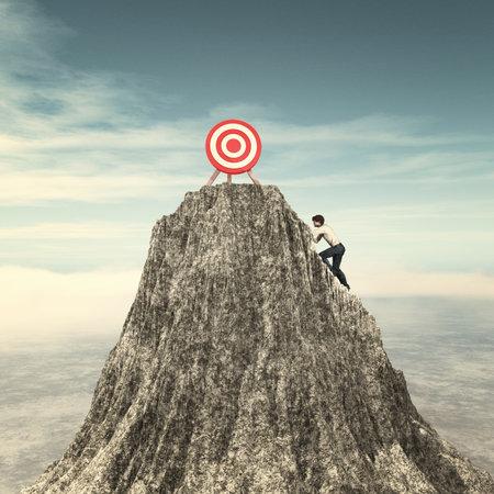 Mann, der auf einer Bergklippe zum roten Ziel klettert.