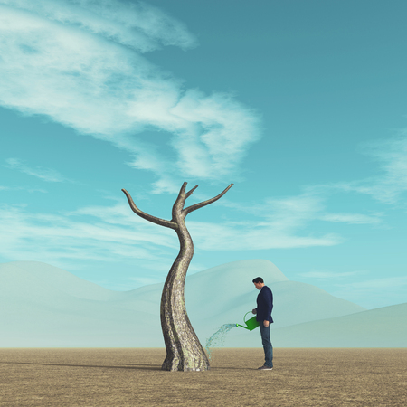 Man watering a tree in the field. This is a 3d render illustration