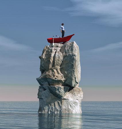 Uomo in una barca bloccato su una grande roccia in mezzo all'oceano. Questa è un'illustrazione di rendering 3d Archivio Fotografico