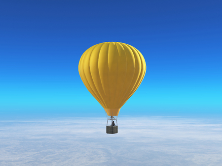 Man in a yellow hot air balloon flying . This is a 3d render illustration