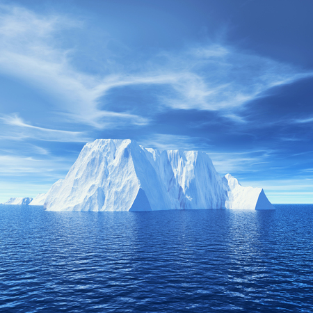 Icebergs in the ocean melting - global warming concept. This is a 3d render illustration