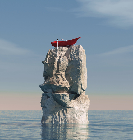 Boat stuck on a big rock in the middle of the ocean. This is a 3d render illustration