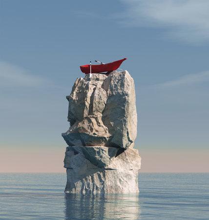Boot steckte auf einem großen Felsen mitten im Ozean fest. Dies ist eine 3D-Render-Illustration