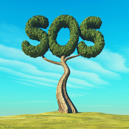 S.O.S shaped tree on field. Save the nature concept. This is a 3d render illustration