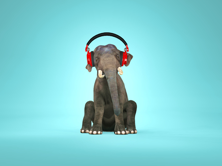 Elephant sitting down and listening music. This is a 3d render illustration