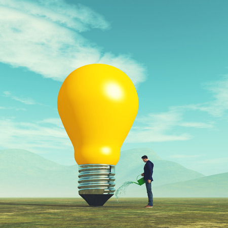 Businessman watering a oversized light bulb . Idea growth concept This is a 3d render illustration Stockfoto