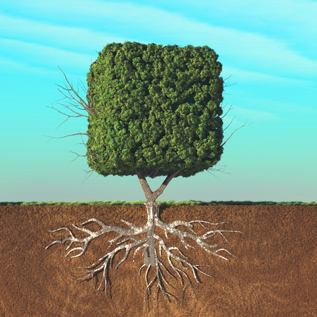 Half divided image of a cubical tree in the ground. This is a 3d render illustration Stockfoto