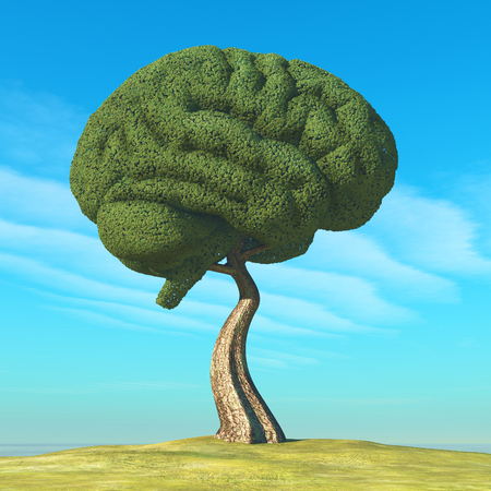 Human brain-shaped tree. This is a 3d render illustration