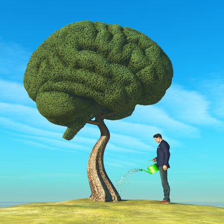 Homme arrosant l'arbre en forme de cerveau humain. Notion d'éducation. Il s'agit d'une illustration de rendu 3D