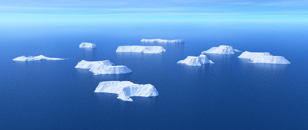 Aerial view of icebergs in the ocean decreasing - global warming concept. This is a 3d render illustration