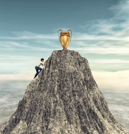 Man climbing on a mountain cliff to the trophy.  This is a 3d render illustration