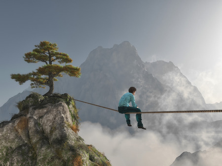 Thoughtful man sitting on rope at high altitude between mountains. This is a 3d render illustration Stockfoto