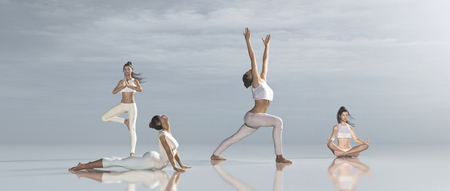 Group of women practicing different yoga. This is a 3d render illustration