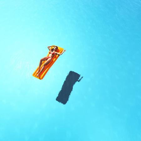 Aerial view of a woman relaxing in the pool. This is a 3d render illustration