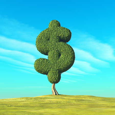 Dollar shaped tree in the field. This is a 3d render illustration