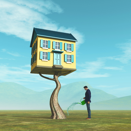 Man watering tree house. Saving for buy new home concept. This is a 3d render illustration