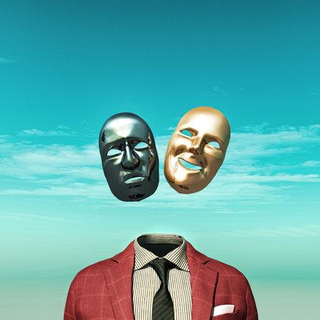 양복 위에 두 개의 얼굴 마스크가 있는 머리 없는 사람. 스톡 콘텐츠