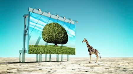 Giraffe looking at a billboard with a leafy tree , on a dry land. Global warming concept. Stock fotó