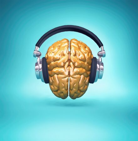 Golden brain with a headset.  3d render illustration