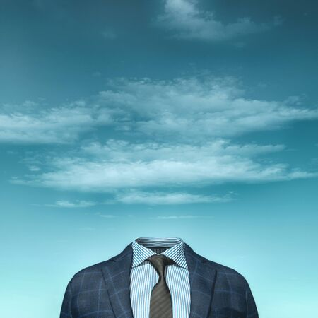 Businessman without head. 3d render illustration