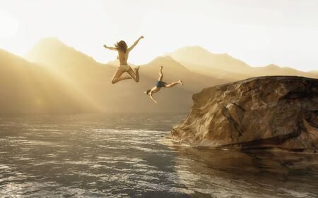 Couple jumping into the lake at mountians.  3d render illustration