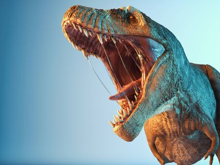 T rex close up roar in the studio. This is a 3d render illustration.
