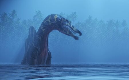 Spinosaurus in the lake . This is a 3d render illustration. Фото со стока