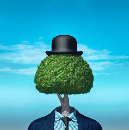 Business suit with a tree instead of head. This is a 3d render illustration.
