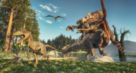 Spinosaurus attacks deinonychus in the jungle. This is a 3d render illustration.