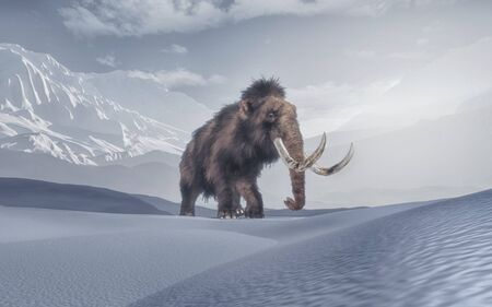Mammoth in the middle of mountains . This is a 3d render illustration 写真素材