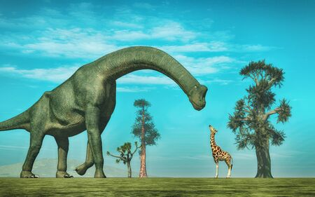 Giraffe in front of a  brachiosaurus. This is a 3d render illustration.
